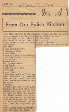 St Stan's Polish Kitchen, Historic Polonia, Buffalo, NY is part of Recipes - Keeping Polish Traditions Alive Favorite recipes from the St Stans Polish Kitchen as submitted by friends & parishioners Retro Recipes, Old Recipes, Vintage Recipes, Cooking Recipes, Ethnic Recipes, Czech Recipes, Blender Recipes, Family Recipes, Crack Crackers