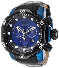 #mensstyle #watches Mens Venom Reserve Chrono Black Distressed Genuine Leather Blue Dial Invicta Watch