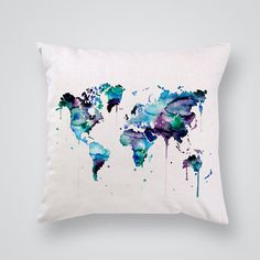 Blue Home Decor - Printed Decorative Pillow - Pillow Cover with Print - Art Throw Pillows for Sale