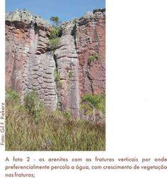 Arenitos de Vila Velha com fraturas verticais, por onde preferencialmente percola a água. Parque Estadual Vila Velha - Serviço Geológico do Paraná - Mineropar