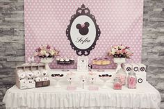 Minnie Mouse Themed Birthday Party: Elegant Black, White, and Pink Minnie Mouse Themed Dessert Table Display and Decor
