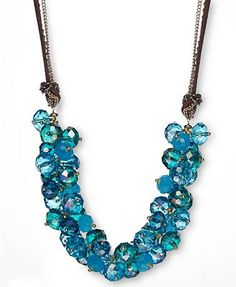 c.A.K.e. by Ali Khan Necklace, Gold-Tone Turquoise Cluster Glass Bead Frontal
