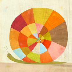 Etsy; Colorful Snail Print / värityysharjoitus, värinsekoitusharjoitus, aika hauska vahaväreillä- Liimarajaus toimisi tähän hyvin!