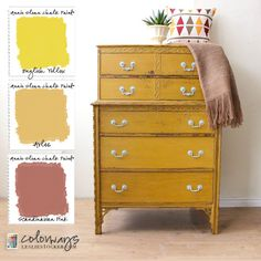 Colorways at Leslie Stocker.com » Golden Yellow Chest on Chest Inspiration from Pinterest. Annie Sloan Chalk Paint® English Yellow, Arles, Scandinavian Pink