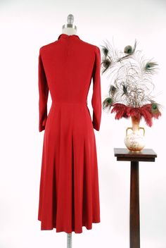 Vintage 1940s Dress Beautiful Crimson Red Rayon Gabardine