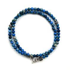 Wrap Bracelet Snakeskin Blue