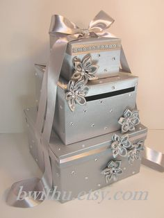 Wedding Card Box Silver Gift Card Box Money Box Holder–Customize in your color – Wedding Gifts Wedding Gift Card Box, Money Box Wedding, Gift Card Boxes, Wedding Boxes, Wedding Cards, Diy Wedding, Wedding Gifts, Wedding Ideas, Cake Wedding