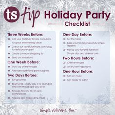 Holiday Party Checklist | Tastefully Simple