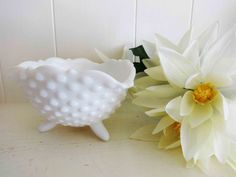Vintage Milk Glass Bowl, Hob Nail, Fenton Glassware, 3 footed Bowel, Candy Dish, Wedding bowl, Wedding Table Decor, by littlebitvintage2 on Etsy