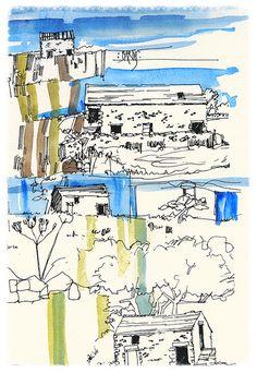 'BARNS' - DERBYSHIRE - | by PARK@ARTWORKS Derbyshire, Barns, Artworks, Diagram, Textiles, Watercolor, Ink, Drawings, Prints