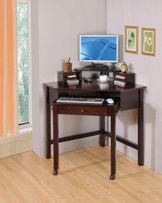 Coaster Small Corner Wood Computer Desk with 1 Drawer Roller $249