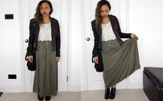 Lace Tank + Motorcycle Jacket + Olive Maxi Skirt + Black Ankle Boots + Long Cross Necklace