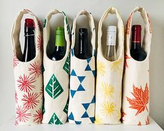 Why not bring a bottle of wine in lovely, eco-friendly, reusable packaging to your next host! 100% organic cotton canvas, hand printed and one of a kind. Cotton Decor, Wine Tote, Organic Cotton, Eco Friendly, Water Bottle, Table Decorations, Tote Bag, Cotton Canvas, Prints
