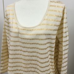 Liz Claiborne 2X Cream color with gold strips shirt by Liz Claiborne in size 2X. 94% cotton & 6% spandex. New without tags. Liz Claiborne Tops Tees - Long Sleeve