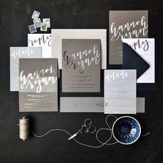 Tonal grey, silver and navy wedding invitation. Calligraphy Wedding Stationery, Grey Wedding Invitations, Gold Invitations, Elegant Invitations, Wedding Stationary, Custom Invitations, Invites, Grey Wedding Decor, Bride Book