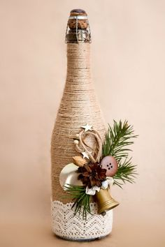 25 Best DIY Wine Bottle Christmas Decorations, Gifts, Crafts and More - Ethinify Wine Bottle Art, Diy Bottle, Wine Bottle Crafts, Jar Crafts, Twine Wine Bottles, Wrapped Wine Bottles, Bottle Labels, Beer Bottle, Vodka Bottle