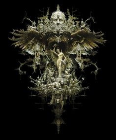 Unreal sculpture by Kris Kuksi. Taking world events as his inspiration, he transforms it with a kind of synthesis of gothic race memory and Giger-influenced psychological horror. Art Actuel, Art Du Monde, Mixed Media Sculpture, Baroque Sculpture, Assemblage Art, Medium Art, Dark Fantasy, Oeuvre D'art, Altered Art