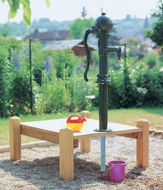 "Article about finding the perfect playground hand pump for sand & water play, from The Learning Landscape ("",)"