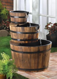 Rustic Three Tier Apple Barrel Water Fountain