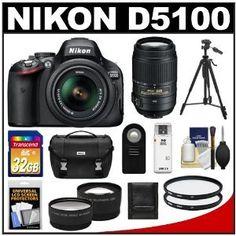 Nikon D5100 Digital SLR Camera  18-55mm G VR DX AF-S Zoom Lens with 55-300mm VR Lens + 32GB Card + .45x Wide Angle  2x Telephoto Lenses + Remote + (2) Filters + Tripod + Accessory Kit