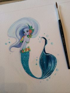 Blue and yellow Hawaiian reef mermie commission. Windsor and Newton gouache on Arches watercolor paper.