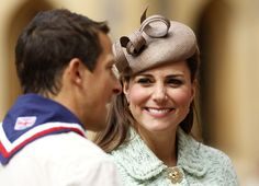 21st April, 2013: Britain's Catherine, Duchess of Cambridge and Chief Scout Bear Grylls attend the National Review of Queen's Scouts at Windsor Castle in Berkshire, near London April 21, 2013.