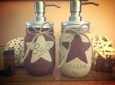Rustic Star Mason Jar Dispensers, Set of 2, Rustic Star Decor, Kitchen Decor, Bathroom Decor, Customize to fit your decor, cottage chic