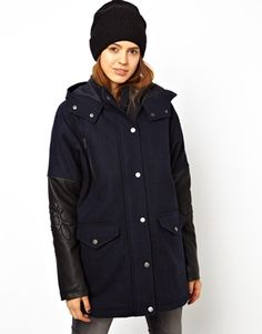ASOS Parka With PU Embossed Sleeve