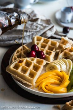 Coconut Waffles - Extra crunchy and crispy on the surface, moist and tender inside. This recipe offers the easiest way to make vegan, gluten free, and dairy free waffles and guarantees the best flavor (Paleo Pancakes Flax Meal) Gluten Free Baking, Vegan Gluten Free, Gluten Free Recipes, Vegan Recipes, Waffle Recipes, Brunch Recipes, Breakfast Recipes, Breakfast And Brunch, Vegan Breakfast
