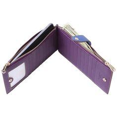 Borgasets RFID Blocking Women's Leather Zipper Wallet Card Case | eNew Style
