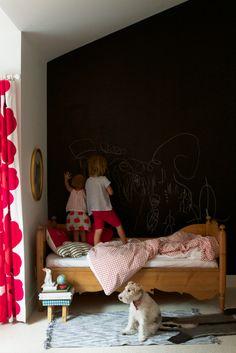 blackboard wall in the kids' room (via design mom: Meta...