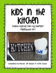 This freebie was inspired from my Crockpot Applesauce Unit.  I decided to make this portion of the unit free because I think the chef hat is so stinkin cute! It would be wonderful for students to wear while cooking in the classroom or little ones at home in the kitchen.