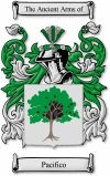 Pacifico Coat of Arms / Pacifico Family Crest  This Italian surname of PACIFICO was a nickname for a mild-mannered and even-tempered man. Th...