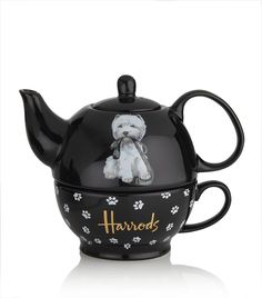 Westie 'Tea for One' Set: Harrods Westie teapot Tea For One, My Tea, Chocolate Pots, Chocolate Coffee, Westies, Westie Dog, Teapots And Cups, Cartoon Dog, Luxury Gifts