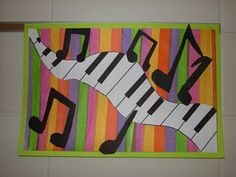 tissue paper striped bgrnd. with keyboard and notes attached on top.
