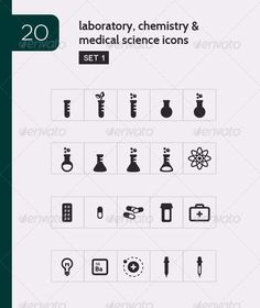 Lab, Chemistry & Medical Science Vector Icons  #GraphicRiver         This icon set comes with 20 laboratory and science icons (created in Adobe Illustrator CS5) in vector (EPS) format and raster (PNG) format. Each icon comes in 4 sizes: 128px by 128px, 64×64, 48×48, 32×32.  	 This set contains the following icons:  	 - Test tube - Biochemistry / environmental science - Bubbling test tube - Beaker - Bubbling flask - Erlenmeyer Flask - Erlenmeyer Bulb - Atomic energy - Pill packet - Electron…