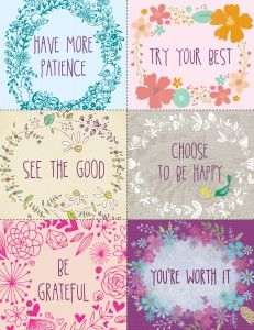 New Years positive inspiration - free printables - print out and tape up these pretty messages as reminders for the New Year! www.kurbo.com