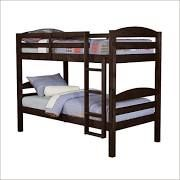 Walker Edison Twin Over Twin Solid Wood Bunk Bed, Espresso