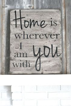 Home Is Wherever I Am With You // hand painted wooden sign @theruffledstitch