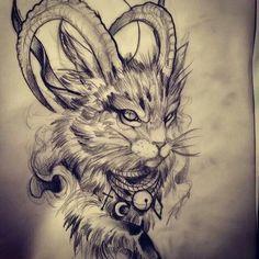 Идеи татуировки: неласковый кот (эскизы и работы) тату, эскиз, длиннопост, арт, кот