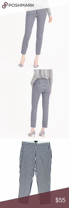 "HPNew JCREW Navy Cropped Martie Pants in Gingham Current season. NWOT. These navy blue and eggshell Ivory gingham Martie pants from JCREW feature a side zipper closure, slim leg and cropped length. Made of a cotton blend. Measures: waist: 33"", rise: 10.5"", hips: 40"", inseam: 26"" J. Crew Pants Ankle & Cropped"