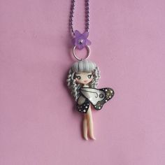 Sign of cancer butterfly necklace in fimo polymer clay by Artmary2