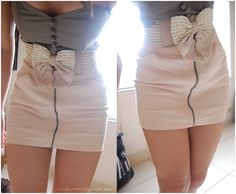 Bow+Skirt - love- but without the zipper, makes the crotch area look odd. Passion For Fashion, Love Fashion, Fashion Beauty, Womens Fashion, Dress Fashion, Fashion Clothes, Fashion Ideas, Club Fashion, Hipster Fashion