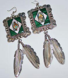 BOLD Navajo WILSON JIM Malachite MOP Turquoise Inlay Feather Earrings, Dangle