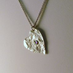 Through the Fire Reticulated Sterling Heart by heldhighdesigns, $38.00