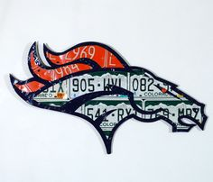Denver Bronco made from expired Colorado license by PopArtPlates