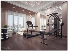 A home gym can be a great convenience. However, coming up with the perfect home gym design to suit personal preferences can be a challenge. The best home gym design increases the chance of achievin… Best Home Gym Setup, Dream Home Gym, Gym Room At Home, Studio Fitness, Small Home Gyms, Zeitgenössisches Apartment, Home Gym Decor, Tv Decor, Elle Decor