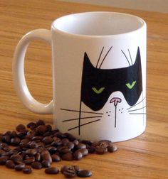 Good Morning Boo Cat Coffee Mug. $15.00, via Etsy.
