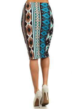 Skirts-Aztec-print-fitted-pencil-skirt-Made-in-U-S-A