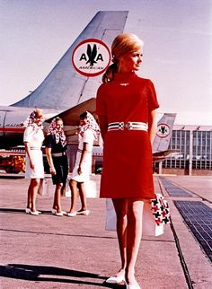 Vintage Airline Travel: American Airlines flight attendant 1960s